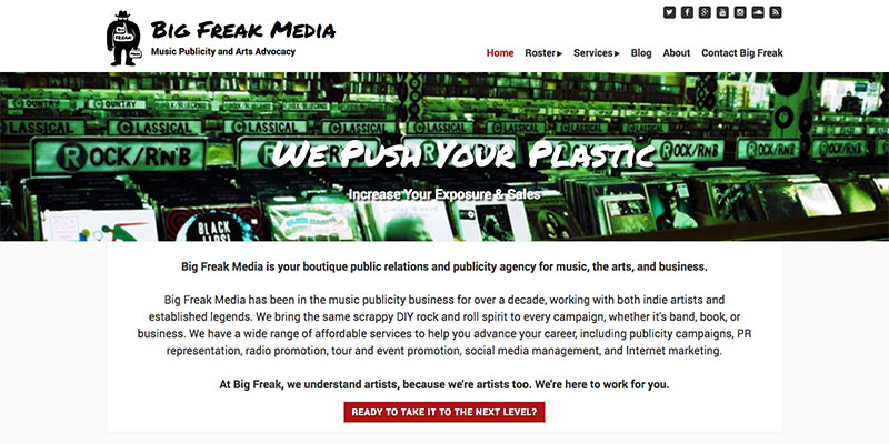 Big Freak Media homepage banner