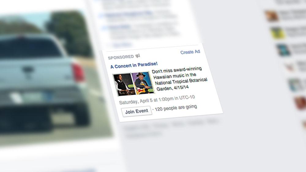 Hawaiian Concert Facebook Advert