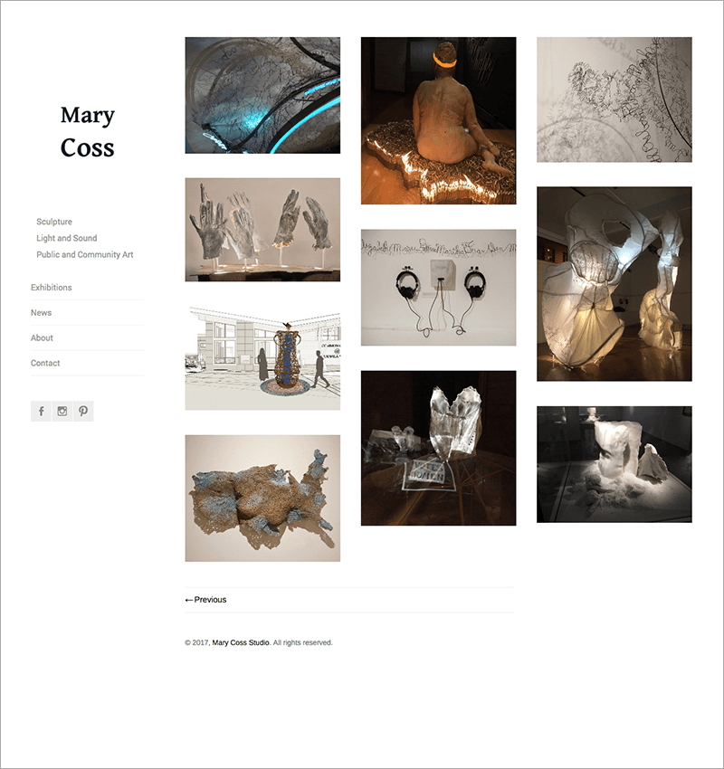 Home page of artist portfolio website